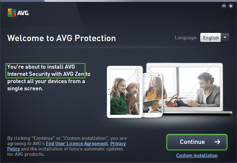 AVG protecting installation